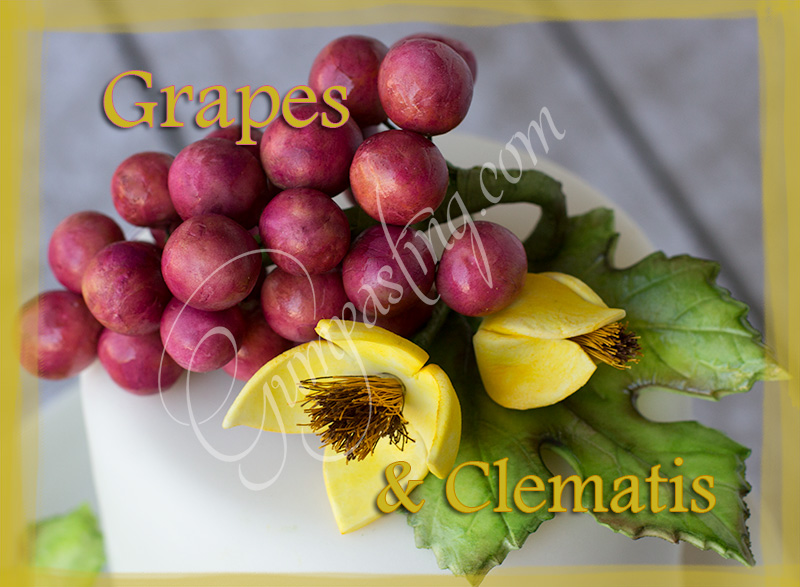 {Red Gumpaste Grapes and Yellow Clematis Flowers}