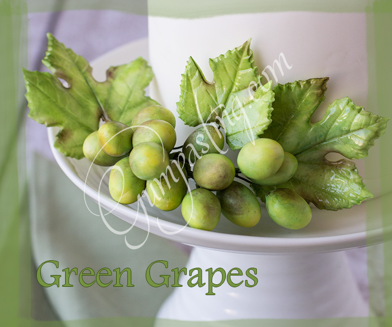 {A Bunch of Green Gumpaste Grapes and Leaves}