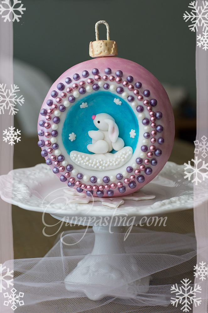 {A Gumpaste/Fondant Concave Christmas Ornament with a Lop-eared Snow Bunny}