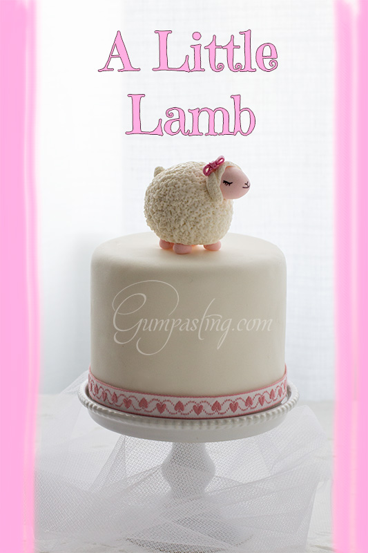 {A Precious Little Gumpaste Lamb with Pink Bow}